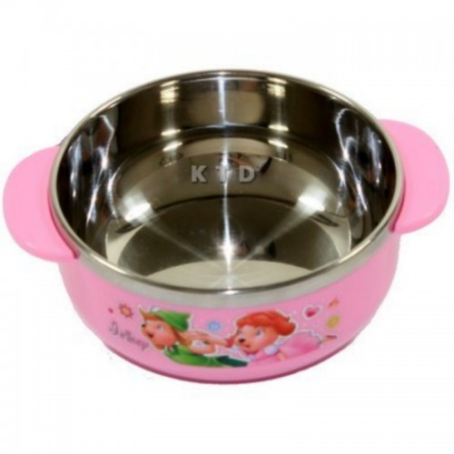 LUCKY BABY STAINLESS BOWL 11X5CM PINK