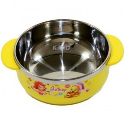 LUCKY BABY STAINLESS BOWL 11X5CM YELLOW