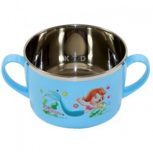LUCKY BABY STAINLESS BOWL 13X8CM BLUE