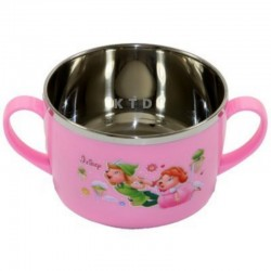 LUCKY BABY STAINLESS BOWL 13X8CM PINK