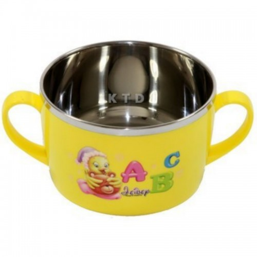 LUCKY BABY STAINLESS BOWL 13X8CM YELLOW