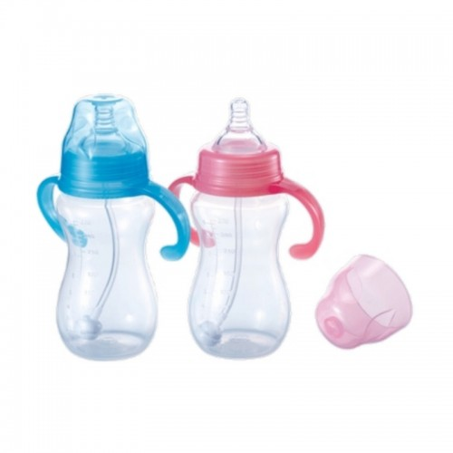 KIDSME MILK BOTTLE SAFETY PP WITH STRAW 270ML PINK