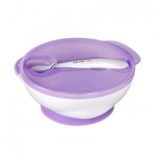 KIDSME SUCTION BOWL WITH IDEAL TEMPERATURE SPOON PURPLE